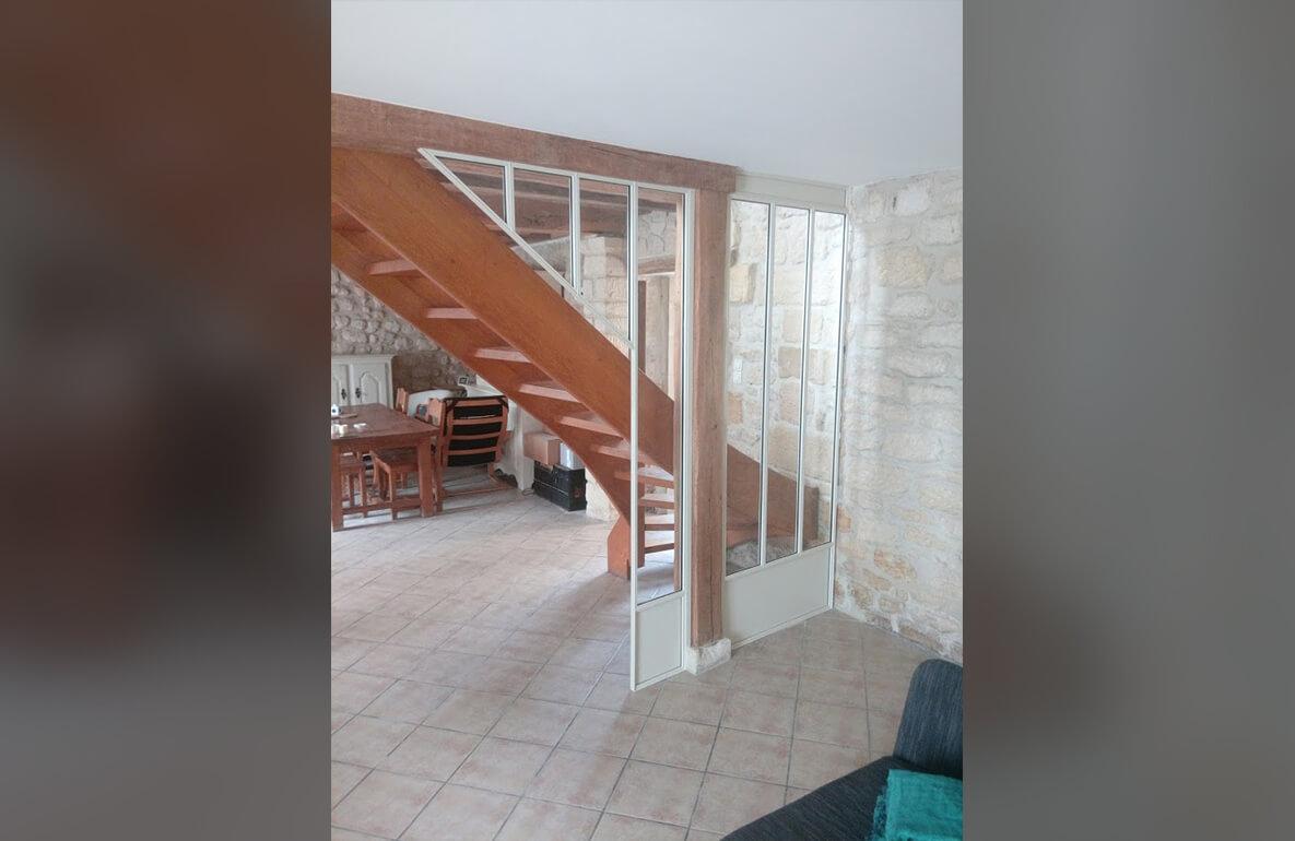 Carette Verrière sur mesure intérieur escalier